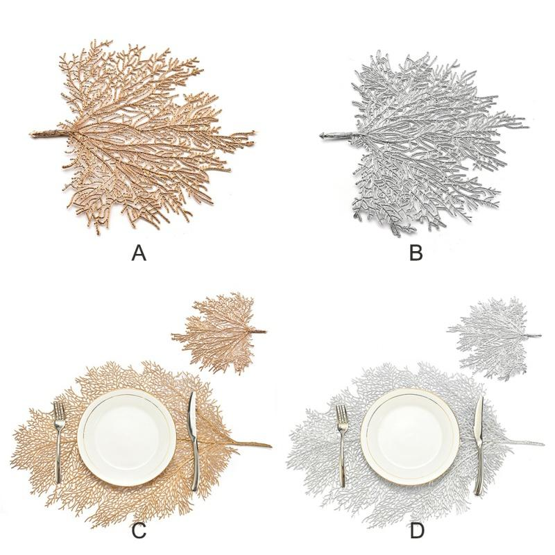 5pcs Simulation Coral Branch Hot Stamping Hollow PVC Insulation Place Mat For Table Pad Table Mat Home Decoration