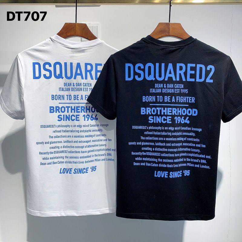 DSQUARED 20SS Italia Disco Punk Streetwear hombre camisetas Carta de impresión de alta calidad Pantalones cortos Tops mujeres de los hombres de Hip Hop Harajuku Camiseta Tee FC707