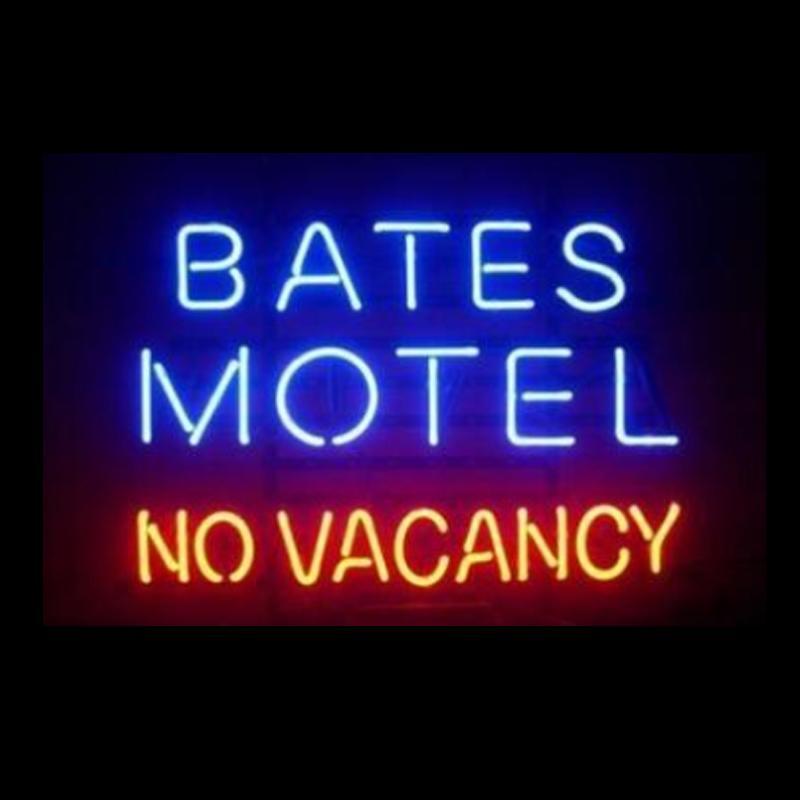 BATES MOTEL NO خلو النيون مخصص اليدوية ريال زجاج أنبوب فندق الديكور الإعلان العرض لافتات النيون 17 X14