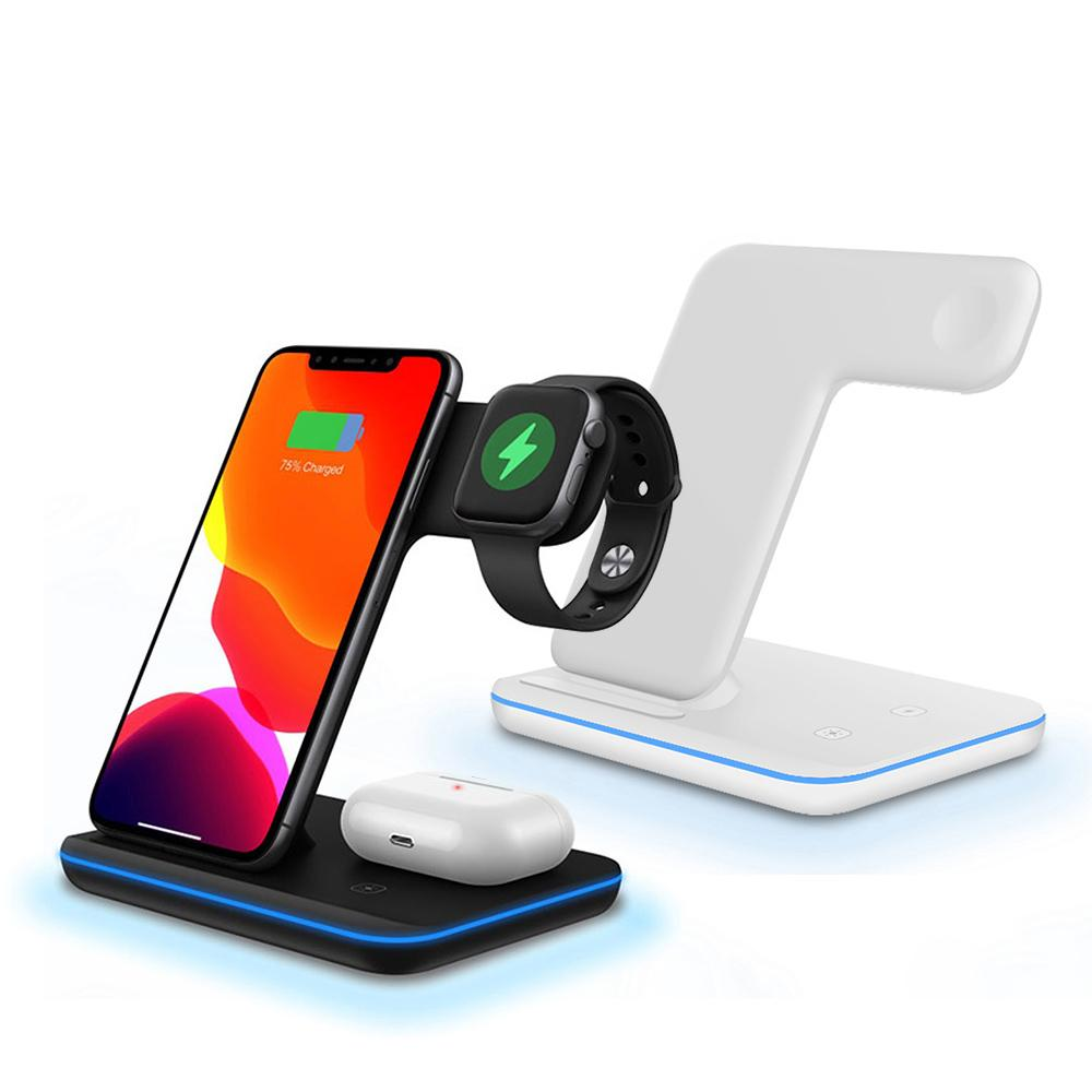 3 en 1 15W Qi cargador inalámbrico para iPhone 11 XS XR X 8 Samsung S20 Fast Carging Dock Station para Apple Watch 5 4 3 Airpods Pro
