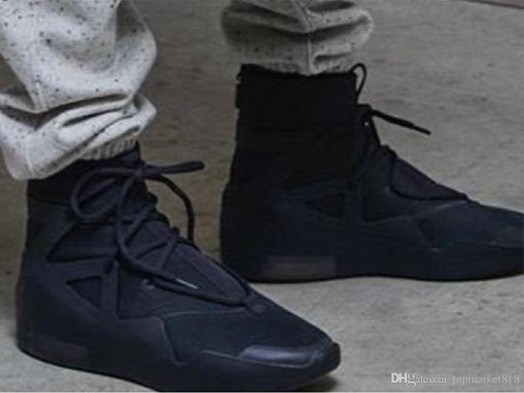 Tanrı 1 basketbol ayakkabıları Üçlü siyah Sneaker Boots Işık Kemik Yelken Yetişkin en yeni korkusu Eğitmenler Ücretsiz nakliye AR4237-005 fogs
