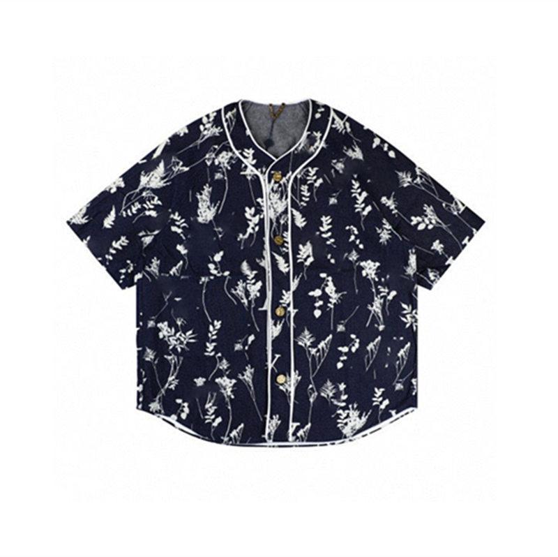 20ss 꽃 지점 야구 디자이너 재킷 밀 귀 데님 짧은 소매 패션 캐주얼 스트리트 남성 여성을 티셔츠 망