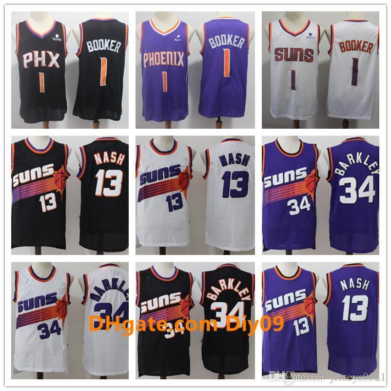 Mens PhoenixSoleilRetour Steve 13 Nash Charles 34 Barkley Devin 1 Booker Deandre 22 Ayton Basketball Shorts Basketball Jerseys
