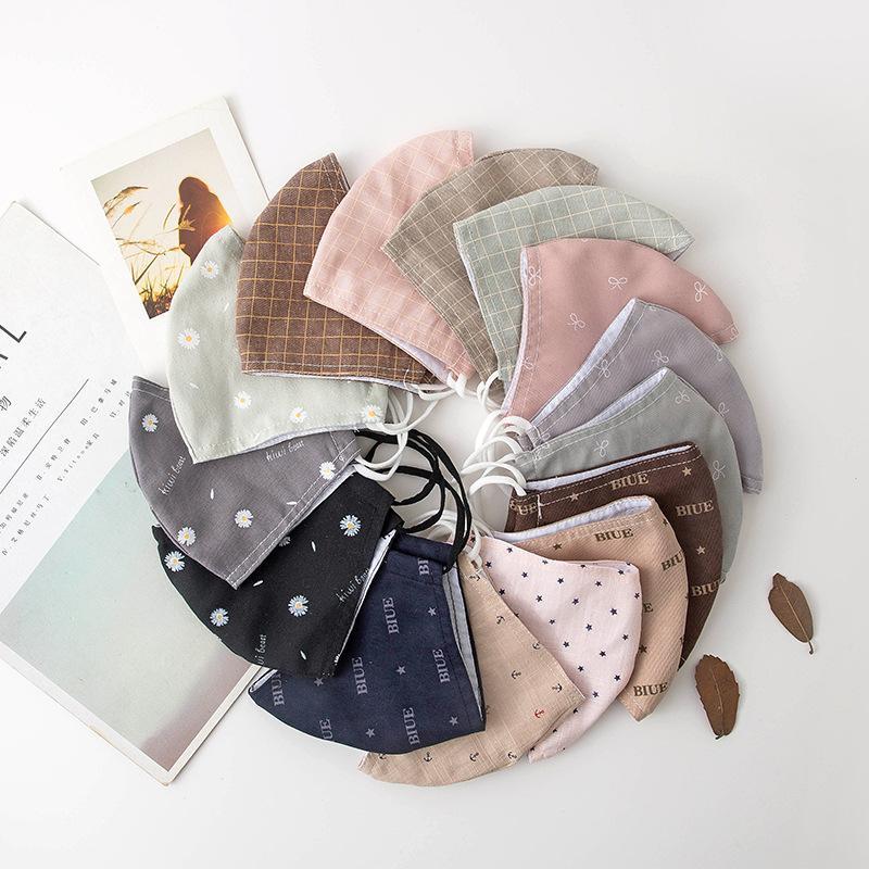ديزي الصغيرة الأزياء قابل للغسل قابلة لإعادة الاستخدام مكافحة الغبار القطن الوجه أقنعة قناع الأذن هوك الوجه للرجل امرأة
