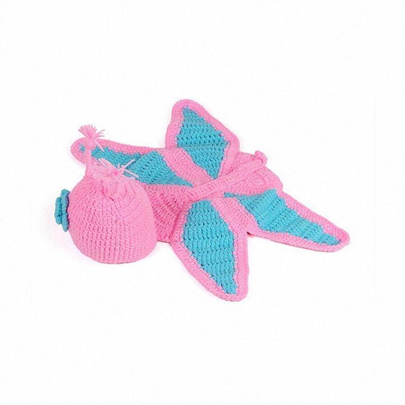 Mode unisexe nouveau-né Garçon Fille Crochet Bonneterie Tenues bébé Costume Set Photographie photo-Props papillon Hk4X #