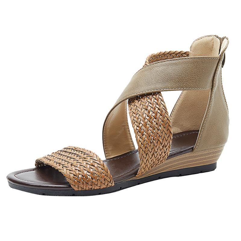 Summer Ankle Strap Straw Braided Street Zipper Wedge Daily Vintage Beach Fashion Soft Sole Women Sandals Open Toe Casual
