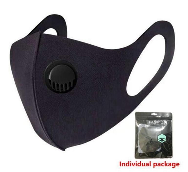 Máscara de hielo seda cara con la respiración Válvula lavable esponja reutilizable máscara máscaras anti-polvo PM2.5 de protección de reciclaje 2000pcs Máscara diseñador