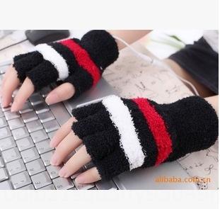 Autoproduit chauffage de chauffage électrique USB doigt ouvert 98g gants et des gants 3 couleurs