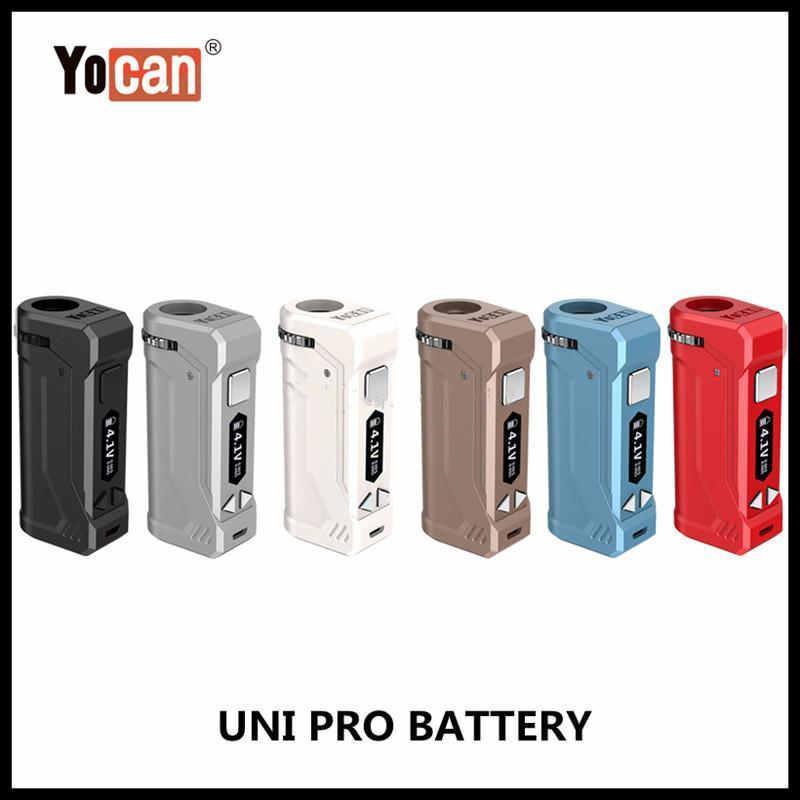 Yocan UNI Pro Box Mod Com 650mAh Tensão ajustável Vape Ecigs bateria para Magnetic 510 fio vaporizador Atomizador 100% GPA Authentic uLORiH