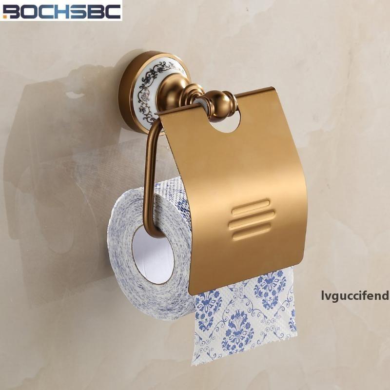 Держатель BOCHSBC Space Алюминий Бумага Античный Классический белый и синий Фарфор Базовый Туалет Валик Держатель бумаги для ванной T200425
