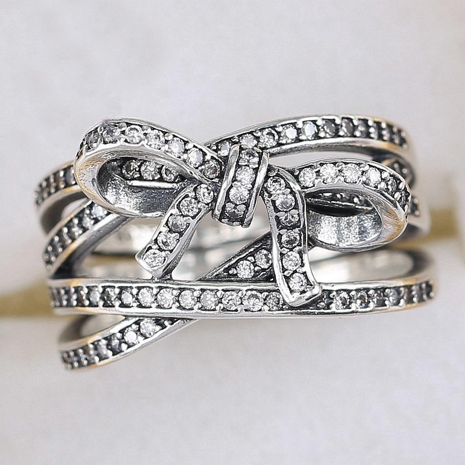 925 Sterling Silver Ring Sentimenti delicati cristalli regalo Anello CZ libera Donne Wedding pavimenta signora adatta Fine Jewelry D18111306