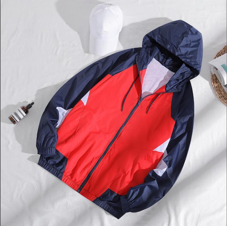 2020 New LN4359 Ankunfts-Sommer mit Kapuze Kontrast-Farben-Reißverschluss-Jacken Outwear Windjacke Men Casual Frühling und Herbst Leichter Jacke