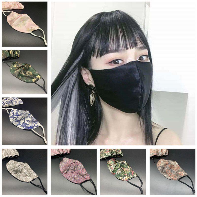 Frauen Art und Weise Silk Gesichtsmaske Druck Sommer Staubdichtes Anti-UV-Masken-Abdeckungen Mouth-Muffel Waschbar Im Freien Schutzbreathable Face Mask