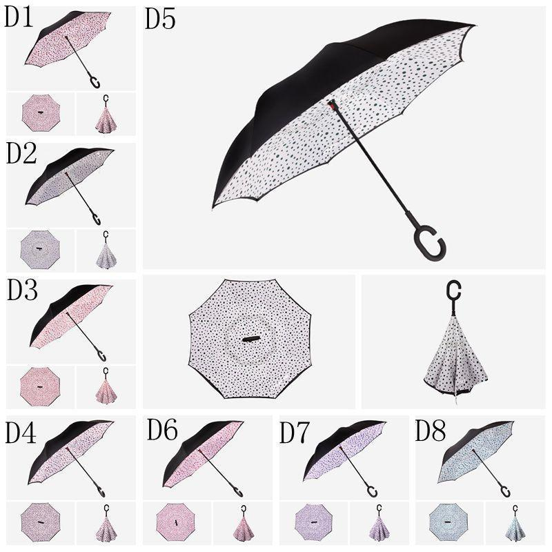 C Handle Double Layer Reverse Umbrella Outdoors Inside Out Stand Windproof Umbrella Car Inverted Folding Umbrellas 500pcs T1I2126