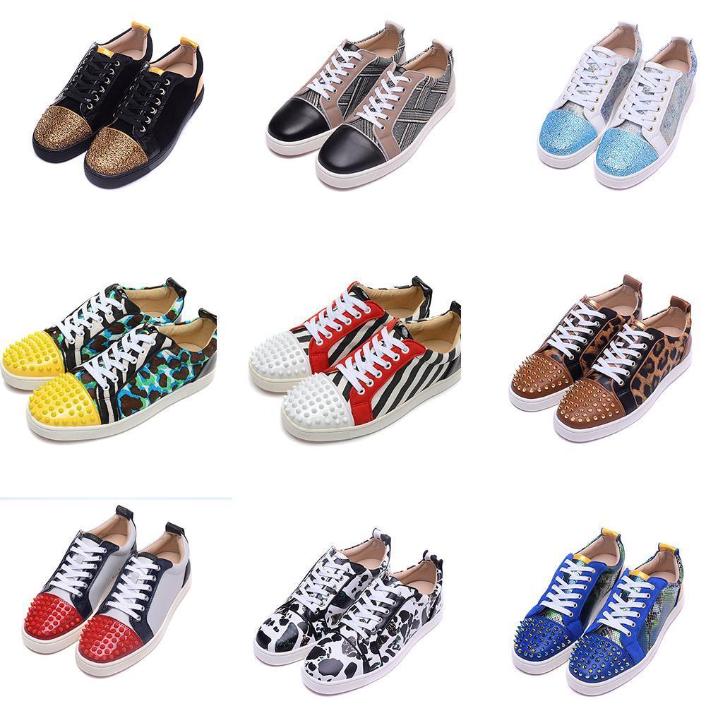 2019 neue Ankunfts-Marken-Designer Luxus-Leder-Low Männer Rotunterseiten Schuhe Sport im Freien Turnschuhe Schuhe für Wohnungen Frauen beiläufige Aufladungen laufen