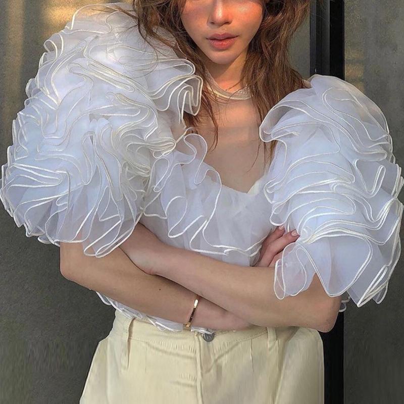 Frauen Rüschen Bluse Crop Mesh-Sheer Lace Up High Street Sommer-Shirt Tops