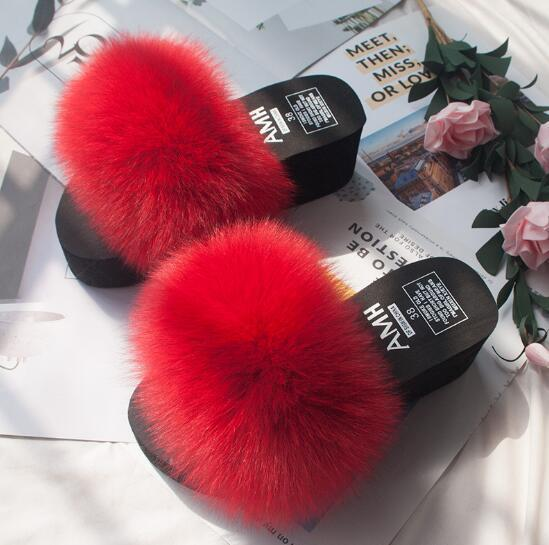 Ladies Summer High Heels Slippers Real Fur Slides Fluffy Soft Fur Slippers Fashion Sandals Women Party Shoes Travel Sandals