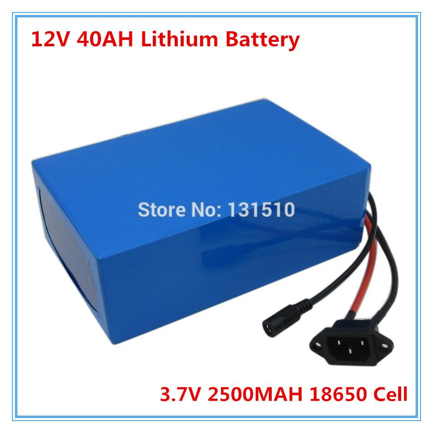 Rechargeable 350W 12V lithium battery 40AH Battery with 12.6V 3A Charger for LED Light / CCTV Camera 30A BMS free shipping