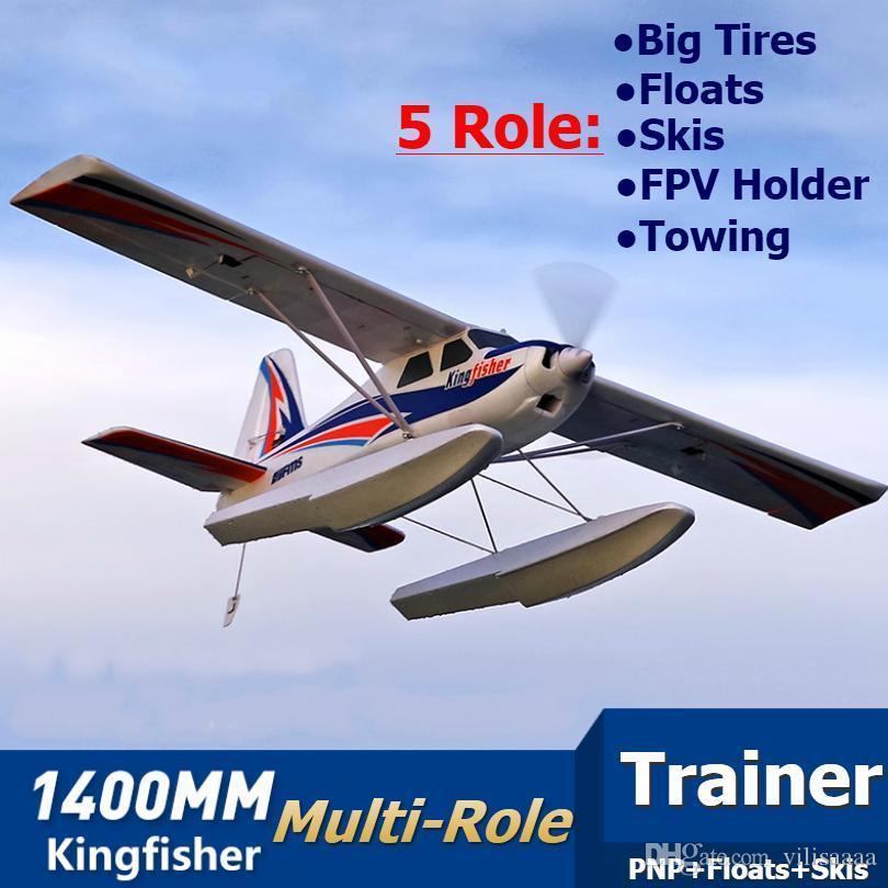 FMS Avião RC 1400 milímetros Kingfisher instrutor Beginner Água Plane 3S 5CH Com Flaps flutua Skis PNP Modelo Aviões planos Avion New 66
