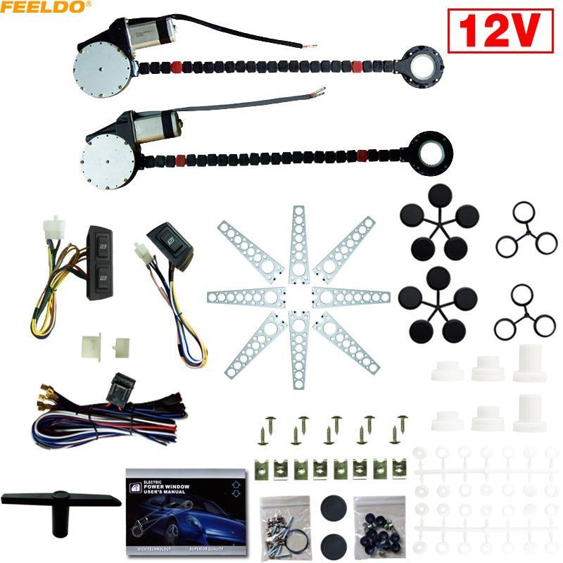 Feeldo Auto Auto Universal 2-deuren Elektrische stroomvenster Kits met 3 stks / set Schakelaars en harnas # 902