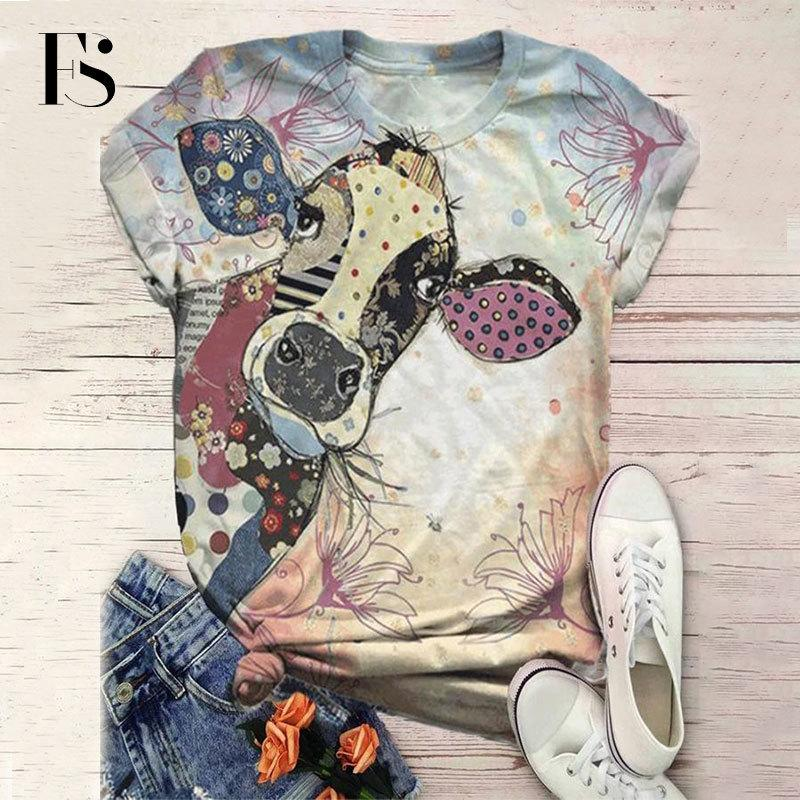 Femmes Cartoon âne T-shirt imprimé à manches courtes imprimé animal T-shirt Hauts Casual O-neck Tee Femmes 2020 MX200721