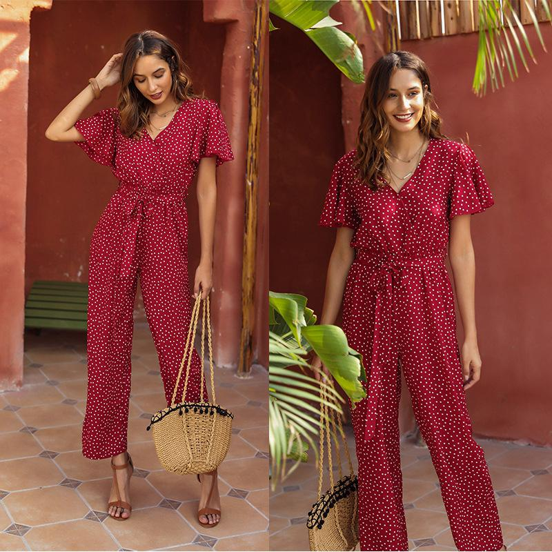 New Summer women jumpsuits holiday party casual Women's jumpsuit short sleeve wide leg pants long jumpsuit women tracksuit Women Onesies