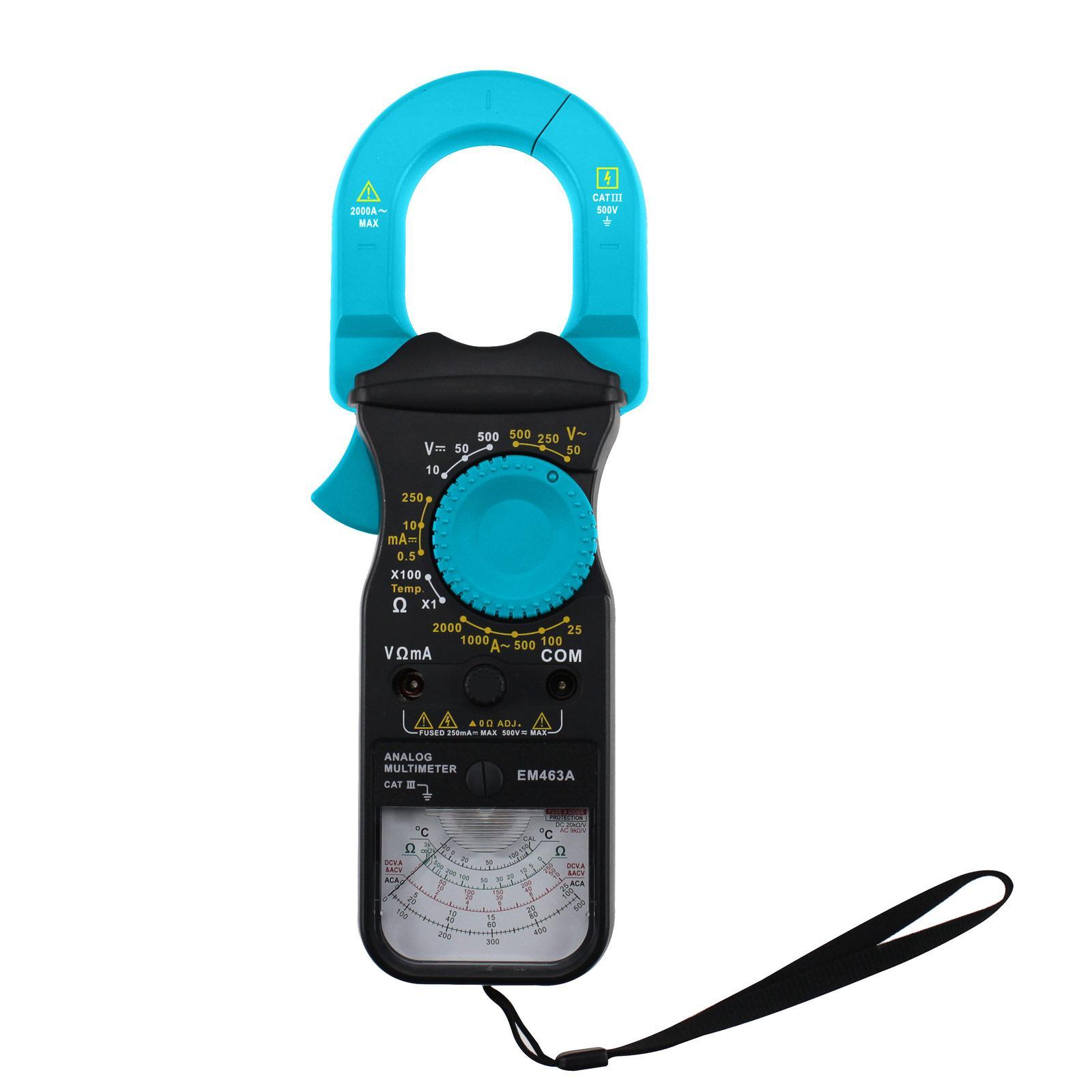 휴대용 아날로그 멀티 미터 클램프 형 CAT III 500V 안전 앰프 옴 볼트 온도 테스트 모델 모든 일 EM463A