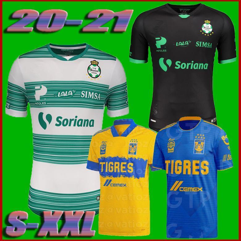 LIGA MX 2020 México Liga Tigres UANL Início camisas de futebol Longe 2020 2021 CLUB CHARLY Santos Laguna Atlas Necaxa Pachuca camisas de futebol