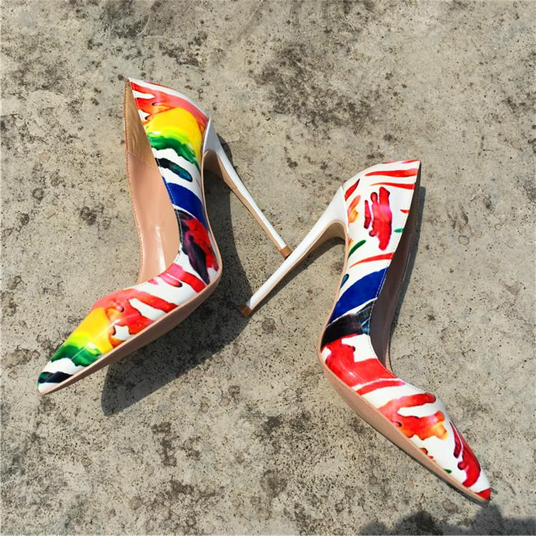 Free shipping fee new style sexy lady party shoes white printed point toe studded spikes high heels shoes boots pumps thin heeled 12cm