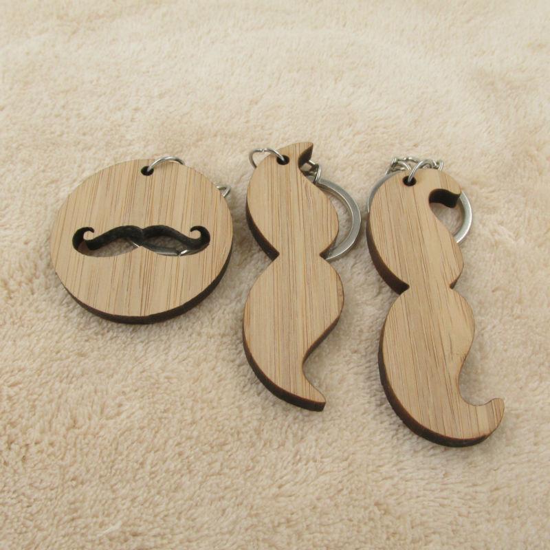 Mustache hommes Porte-clés anneau laser coupe en bois porte-clés Cadeau pour lui faveur papa Père grand-père d'anniversaire