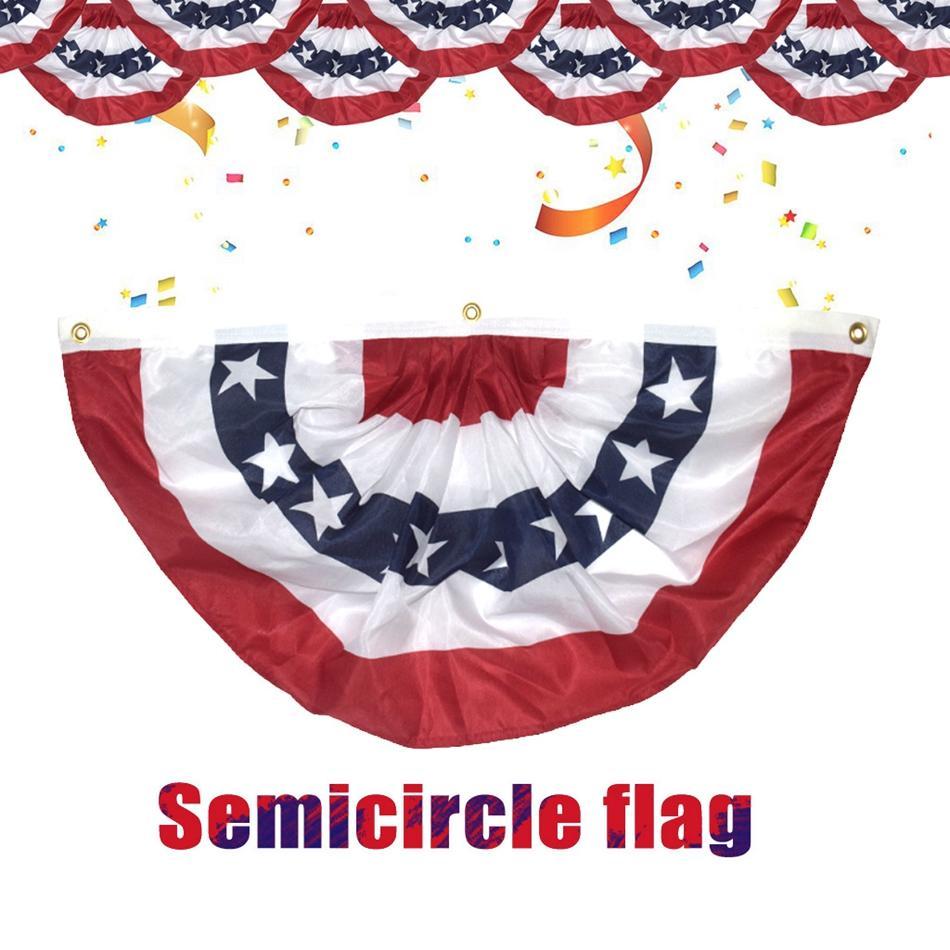 90 * 45cm Bandera EE.UU. plisado semicírculo mitad del ventilador de la estrella estadounidense Impreso y rayas hebilla de cobre amarillo ojales Banner Bunting decoración LJJP159