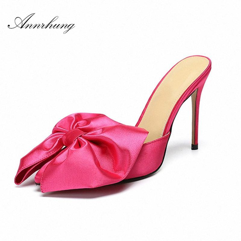 Mariposa grande dulce nudo rosa zapatillas de raso mujeres atractivas punta estrecha 10cm Delgado zapatos de tacón alto del estilete Pasarela mulas para las mujeres L35Z #
