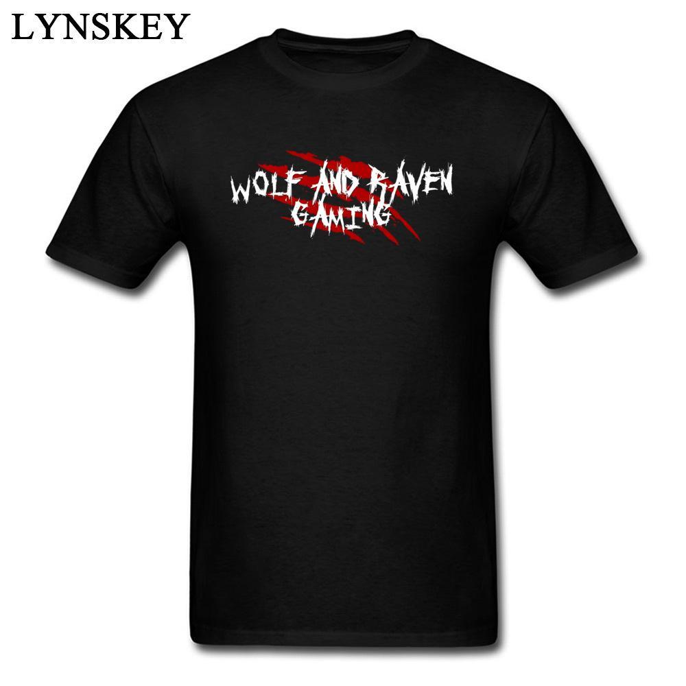 Lobo y Raven Gaming cicatrices carta simple camiseta ocasional Para Rojo Blanco Negro Hombre tes de las tapas camiseta personalizada del tamaño extra grande
