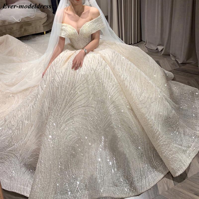 الفاخرة لامعة فساتين الزفاف 2020 أنيقة قبالة الكتف الدانتيل احتياطي الأميرة سباركلي الكرة ثوب الزفاف أثواب العروس فستان مخصص