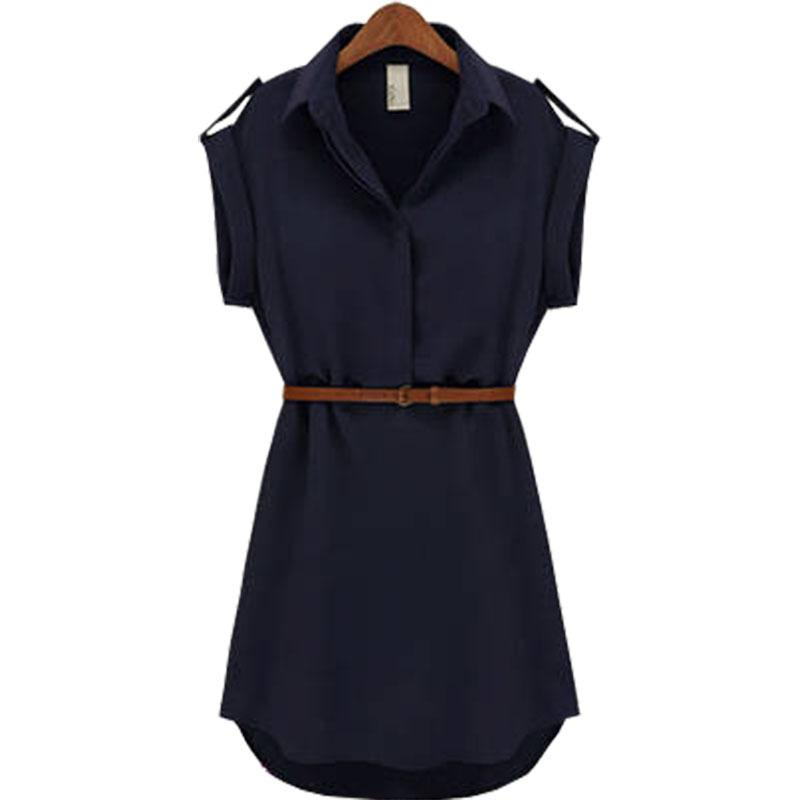 Women summer dress 2020 Fashion summer style loose short-sleeve chiffon stock dresses free belt women's clothing vestidos