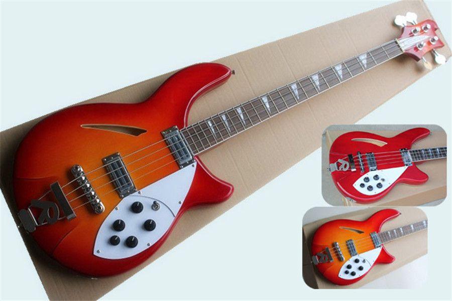 Ücretsiz teslimat 360 370 4 strings bas gitar, sunburst ahşap bas, kırmızı bas, yarı içi boş gövdesi, akçaağaç boyun gülağacı klavye kabuk kakma, 5 anahtar