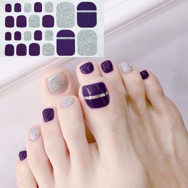 Beauté Santé D34 Adhesive Toe Nail Sticker Glitter style d'été Conseils PARFAITEMENT Toe Nail Art Supplies Pied Decal pour les femmes