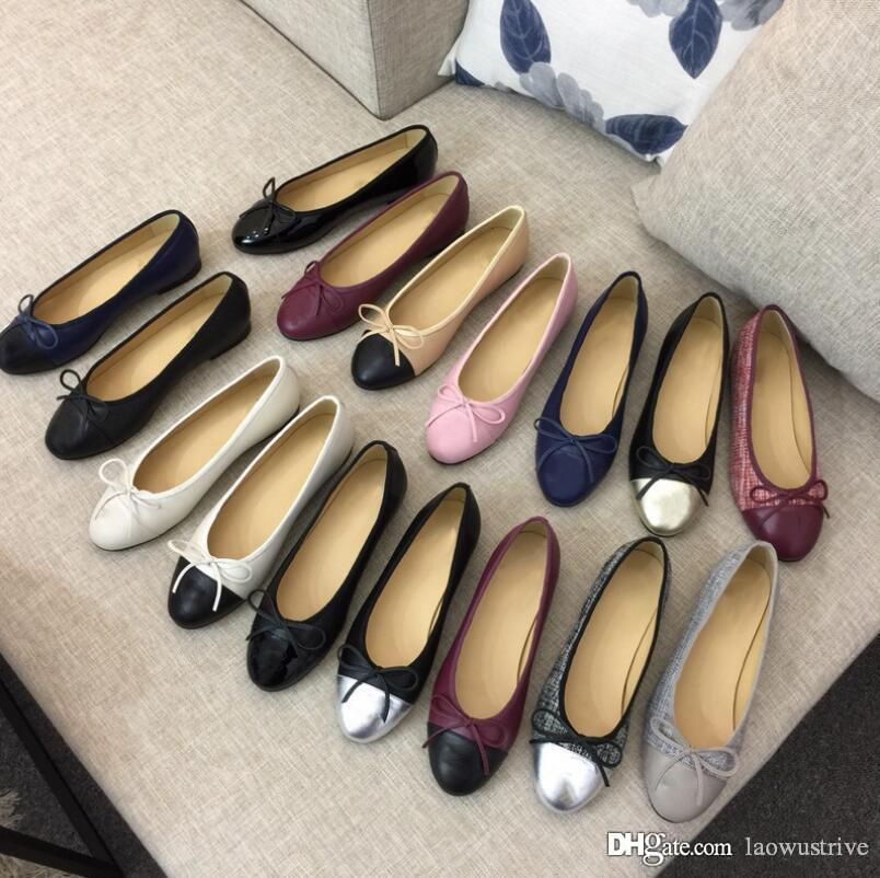 Vestido de la mujer zapatos de diseño cuero genuino suave de las señoras del arco de los zapatos de lujo mujer Carta clásico zapatos del barco de piel de oveja plana de gran tamaño US11 34-42