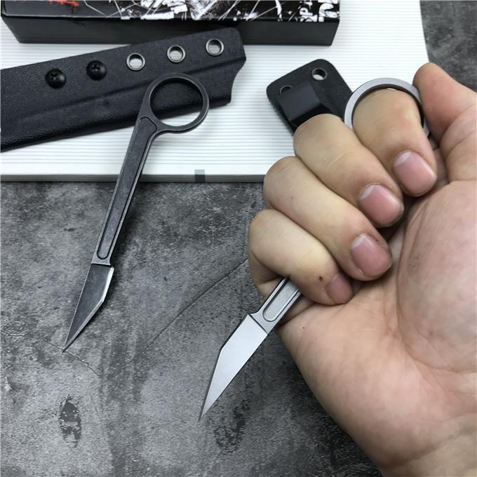 2020 New EDC Tactical Straight Knives 440C Stone Wash Blade Full Tang Steel Handle Fixed Blade Paper cutter Knife