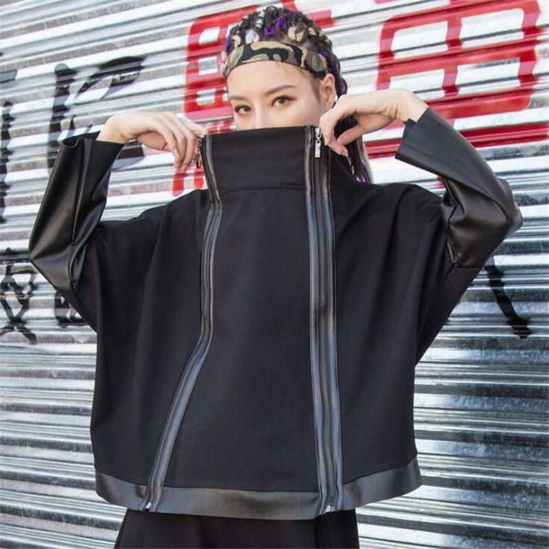 улица мода корейская дама Punk Streetwear Black Leather Jacket Лоскутной 2020 Осень Zipper Урожай Водолазка Coat