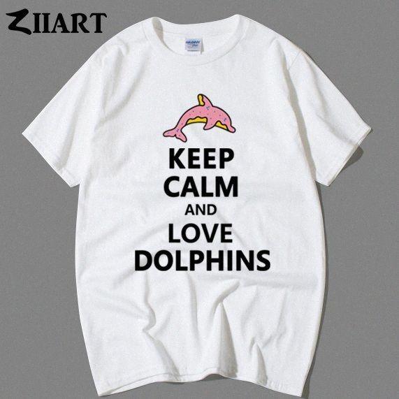 golfinho-de-rosa donut filhós mantenha a calma e amor golfinhos casal roupas homem meninos do sexo masculino o-pescoço T-shirt de manga curta 68j3 #