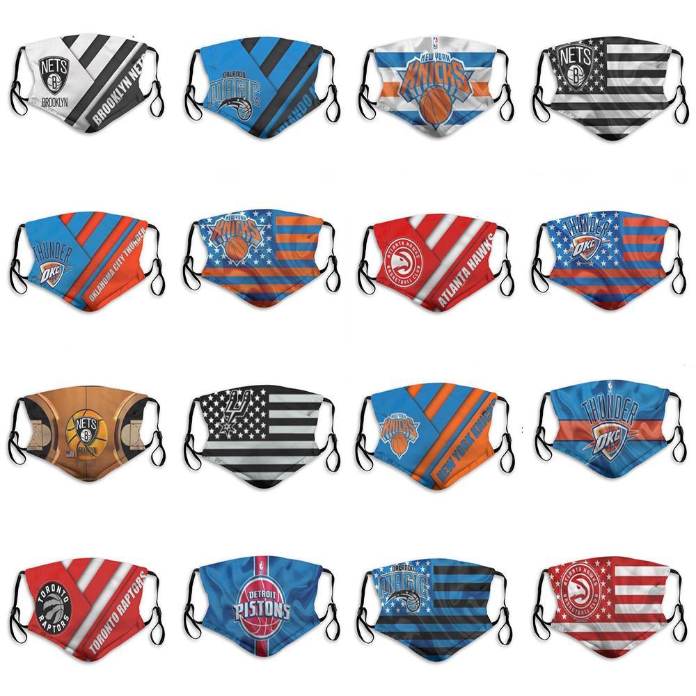2020 Yeni 5 katman toz maskesi erkek basketbol takımı Knicks Sihirli Raptors Spurs moda nefes baskılı özel basketbol yüz maskesi