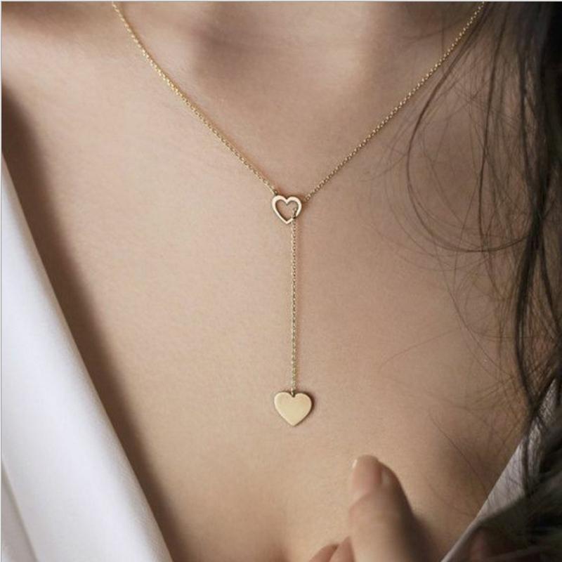 Y شكل قلادة القلب قلادة من خلال القلب المنحوتة جوفاء الفضة لون الذهب مطلي مع سلسلة معدنية المرأة حزب التبعي