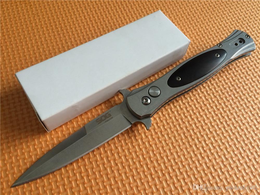 ¡Mejor precio! SOG FIELDER G707 automática Mejor cuchillo 440C de acero Stonewash Cocobolo engranaje Mango EDC bolsillo de la supervivencia del cuchillo Cuchillos