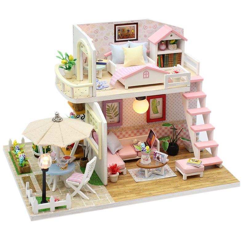 DIY Casa de madera Miniaturas con muebles DIY Casa en miniatura Casa Doll House Juguetes para niños Regalos de cumpleaños Caja Teatro M33 MX200414