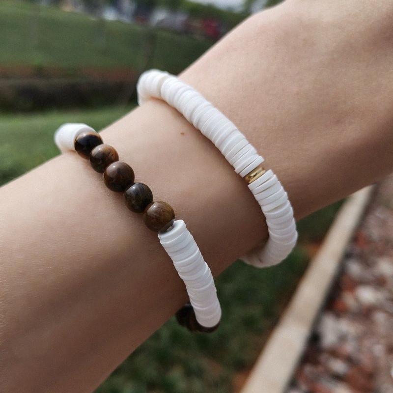 Nouveau 6mm Perles Tiger Eye Bracelet hommes main en pâte polymère Bracelet Femmes réglable Bijoux LHtF #