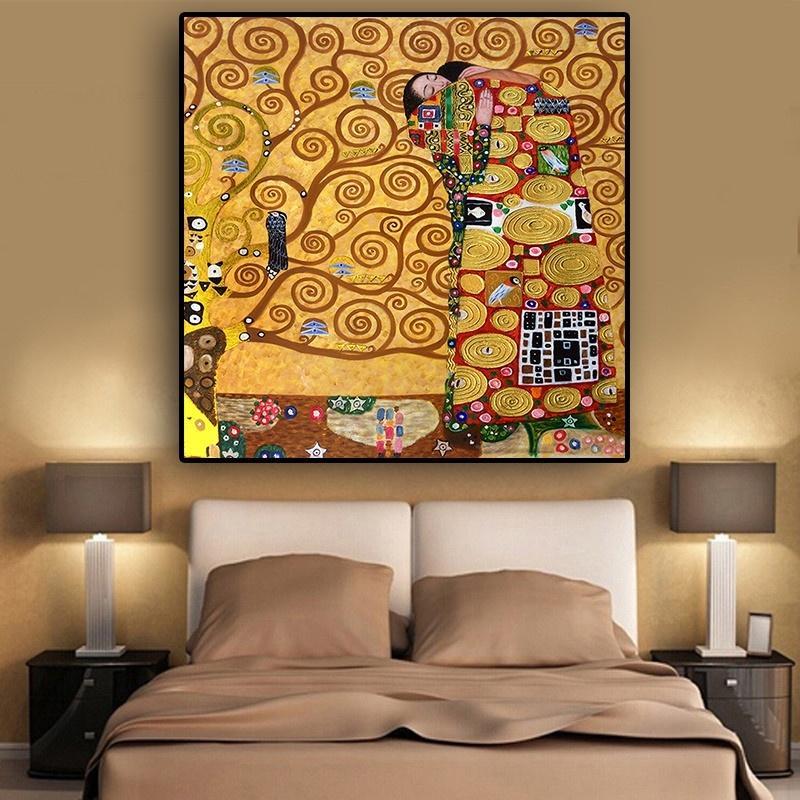 Cumplimiento por Gustav Klimt pintura al óleo famosa tela Pósteres Láminas de arte moderno abstracta de la reproducción cuadro de la pared de la sala de estar de la decoración