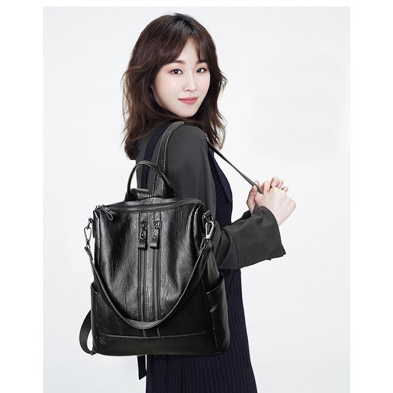 les femmes de grande capacité Sac à dos pour voyager de grande taille en cuir souple paquet chaud dames en cuir sac multi-fonctions