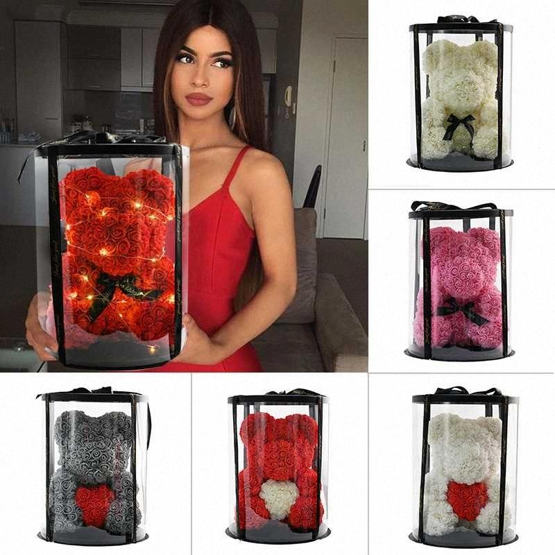2020 2020 Regali San Valentino Fiori regalo 40 centimetri Rosa Orsacchiotto Rosa artificiale Nel Round Box Anniversario di compleanno per le donne Ragazze OJ4L #