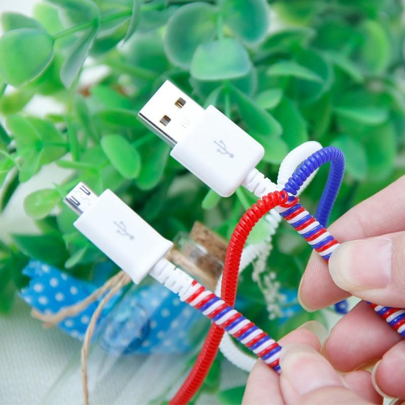 500pcs Cable protector USB Charging Data Line Cable protect protecter rope Wire Cord Protection Wrap Cable Winder Organizer For iPhone 0.5m